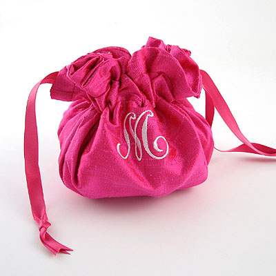 Personalized Solid Silk Jewelry Pouch by Objects of Desire